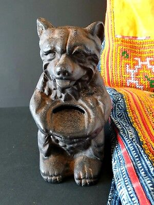 Old Cast Iron Bear Bank …beautiful collection / display piece