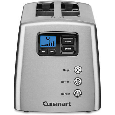 Stainless Steel 2-Slice Leverless 7- Shade Settings Toaster with LCD Display