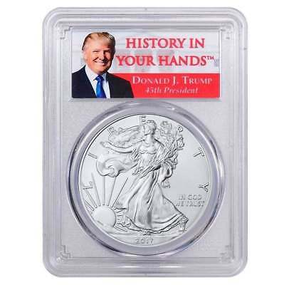 2017 - 1oz Silver Eagle - First Strike - Donald Trump Label Dollar MS70 PCGS