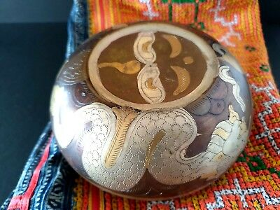 Old Asian Inlaid Bronze Copper Singing Bowl …beautiful collection item  Old Asia