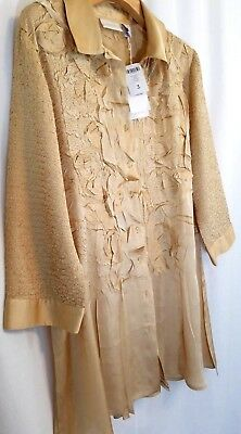 Chico's 2 Gold Nugget Crinkled Crush Roxie Applique Tunic Top Xl 16-18 Nwt $109