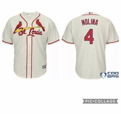 buy online 52280 06e74 MLB ST. LOUIS Cardinals Yadier Molina Cream Cool Base Player Jersey #4 XXL