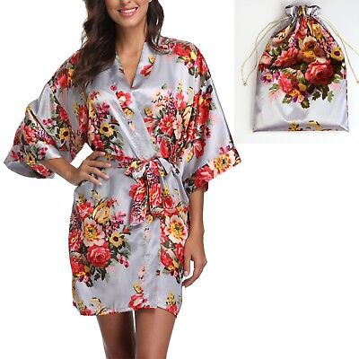 Silver Women Satin Floral Robe Wedding Favor Bridesmaid Gift - One Size US 2-14