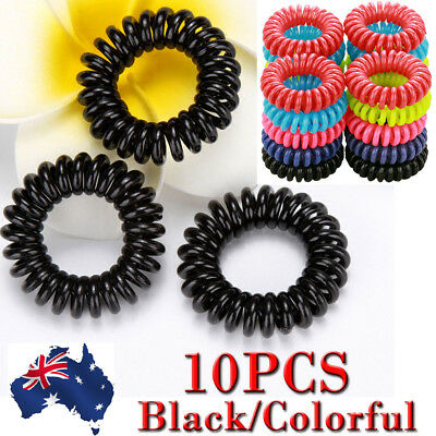 10Pcs Women Girl Lady Elastic Rubber Spiral Bungee Plastic Hair Tie Band AU