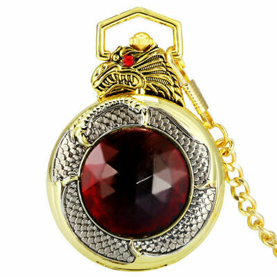 Hot Evil Dragon Design with Red Crystal Stone Black Dial Pocket Watch Chain