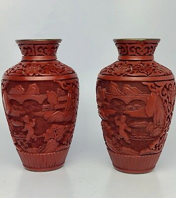 "Pair (2) Vintage Chinese Cinnabar Hand Carved Lacquered 5"" Vases 20Th Century"