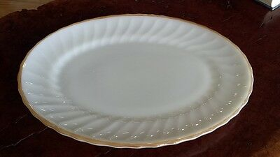 RETRO Vintage PYREX  Milk White GLASS PLATTER fluted Pattern Anchor Hocking 2347