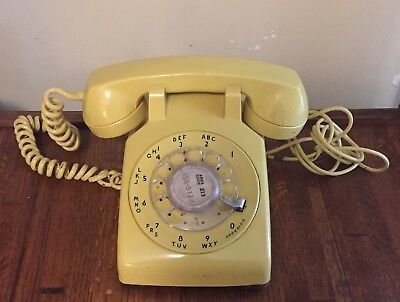Vintage Rotary Dial Phone Desk Western Electric Yellow Bell System (1)