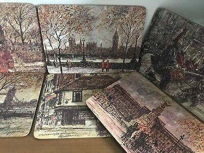 Vintage Clover Mats: Alex Jawdokimov Prints:  Cork Backed - London Scenes 1970s