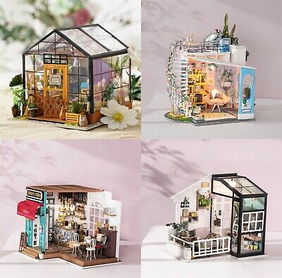 Rolife Doll House with Miniature Furniture Light Handmade Wooden Dollhouse Toy