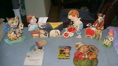 Vintage lot of 8 valentines day cards stand up movable USA German cat dog child