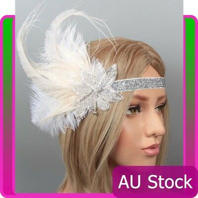 1920s Headband White Feather Bridal Great Gatsby 20s Flapper Headpiece Gangster