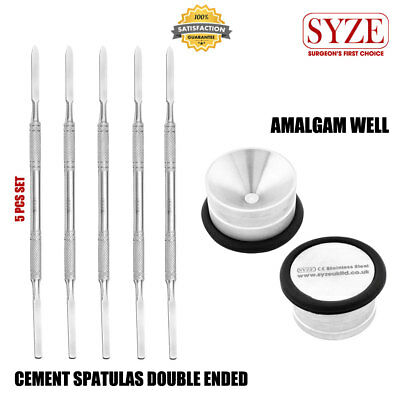 Cement Spatula 5 Pcs Set / Amalgam Well 1X Dental Restorative Instruments SYZE