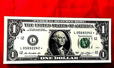 $1 America  Banknote Usa Star Note Replacement ''l'' California Unc Crisp 2013