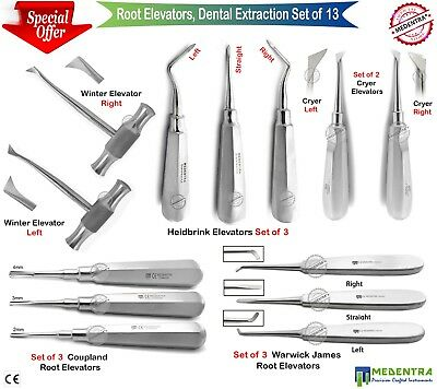 MEDENTRA® 13Pcs Dental Surgical Root Luxating Tooth Extraction Elevators kit New