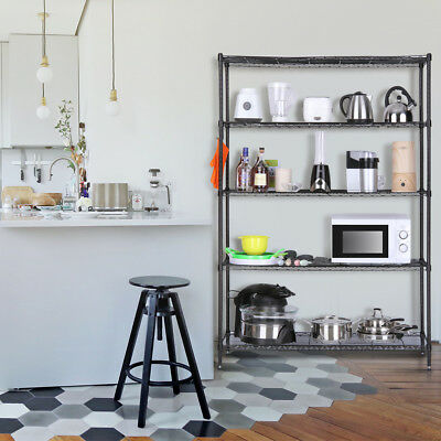 LANGRIA Home 5-Tier Heavy Duty Extra Large Shelving Unit W/ 5 Additional Hooks