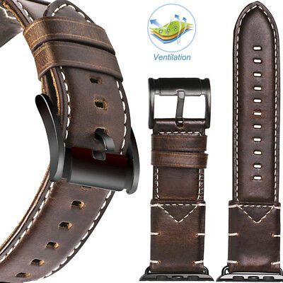 VIQIV Men's Genuine Leather Watch Strap Band For Apple Watch 38mm 42mm 40mm 44mm