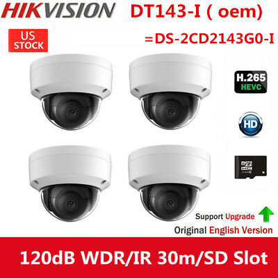 4pcs HIKVISION OEM 4MP DS-2CD2143G0-I H.265 Dome IP HD Outdoor Security Camera
