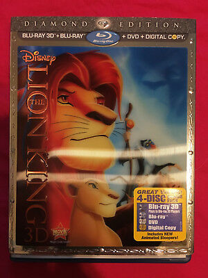 NEW The Lion King (3D/Blu-ray/DVD, 2011, 4-Disc Set, Diamond Edition) w/ cover