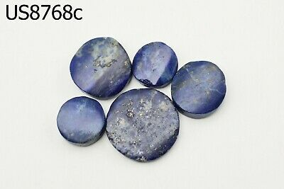 Lot 5 Ancient Egypt Style BRIGHT BLUE Lapis w/Pyrite Carved Coin Beads #8768