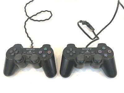 Two Official Sony Playstation 2 PS2 Dual Shock Controllers Black PS2