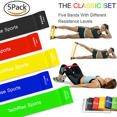Set of 5 Resistance Bands Loop Set Exercise Sports Fitness Home Gym Yoga Latex