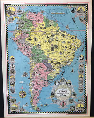 ORIGINAL Lithographic Print Illustrated Map SOUTH AMERICA Earnest Dudley Chase