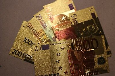 European 500-5 Euro Gold Banknote (7pcs) set  In Plastic gold COA  very quality