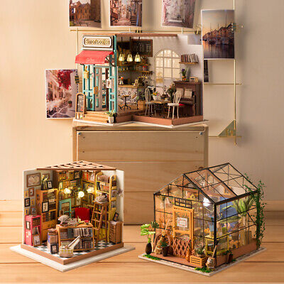 ROBOTIME 17 Kinds DIY Wooden  Dollhouse Miniature House with LED Light Furniture