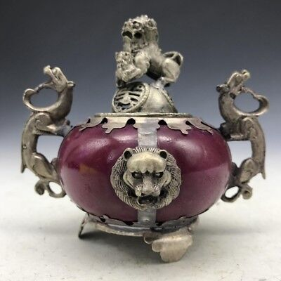 China's ancient jade and rare Tibetan silver lion's head censer