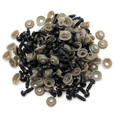 100pcs 6-14mm Black Plastic Safety Eyes For Teddy Bear/Dolls/Toy Animal/Felting
