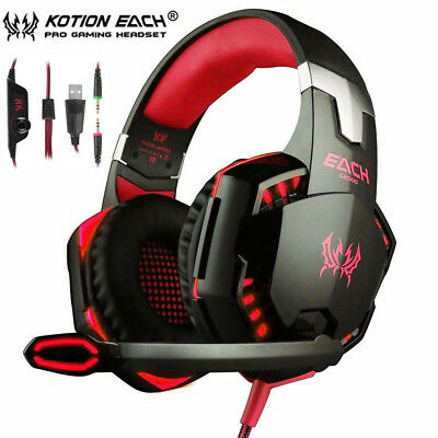 EACH 3.5mm Gaming Headset MIC LED G2000 Surround for PC Mac Laptop PS4 Xbox One