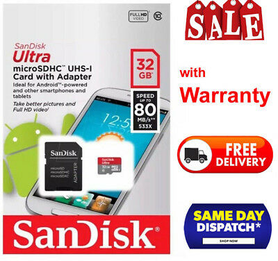 SanDisk 32GB Micro SD SDHC Ultra Memory Card UHS 1 80mb CLASS 10 inc Adap