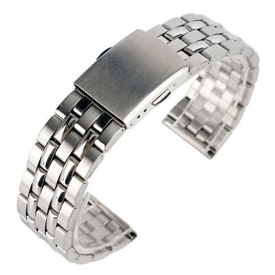 3 Sizes Stainless Steel Metal Watch Band Belt Strap Silver Unisex Bracelet Clasp