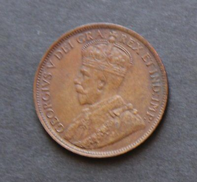 1918 Canadian George V one cent coin high grade - 8 pearls - Orb - nice rim