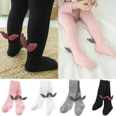 Newborn Baby Infant Solid Color Tights Pantyhose Soft Stockings Cute Wings Décor