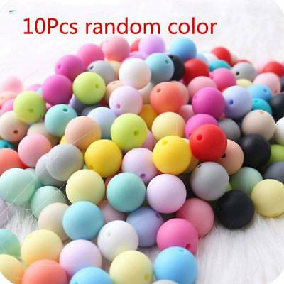 10Pcs Silicone Beads Baby Teether Loose Beads For Necklace Teething Beads