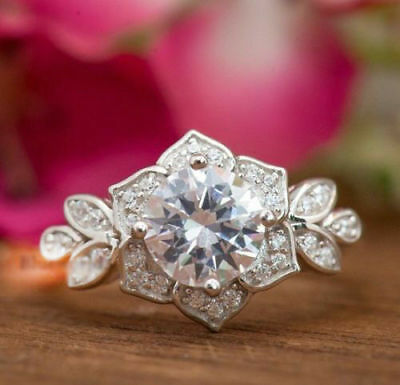 925 Sterling Silver White Round Moissanite Engagement Wedding Ring in 2.45Ct
