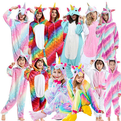 Pigiama animale costume carnevale adulto bambini animali tuta party Unicorno IT