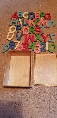 Vintage 40's wooden ABC alphabet numbers educational toy