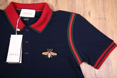 2cc5c6dff GUCCI T Shirt Polo New Mens Navy Blue Size 2XL Cotton Genuine Italy Bee On  Chest