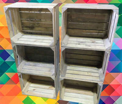 6 x Storage Boxes - Wooden Apple Crates / Fruit Box - COLLECTION ONLY - CT3 KENT
