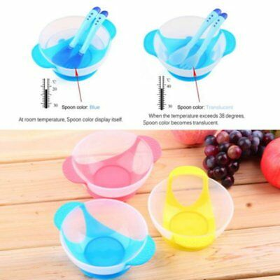 3 Colors Baby Suction Cup Bowl Set Anti Slip Tableware Temperature Spoon Fork US