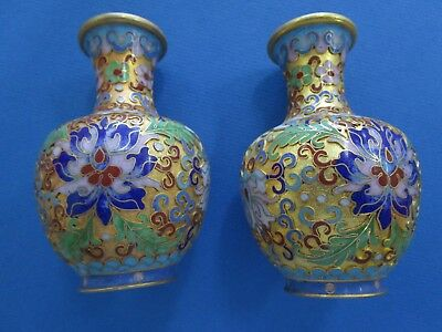 Pair Of Chinese Open Cloisonne Enamel Floral Vases