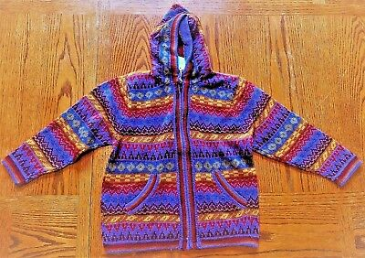 Child's knitted hooded sweater - size 10  - purple/maroon - front zipper