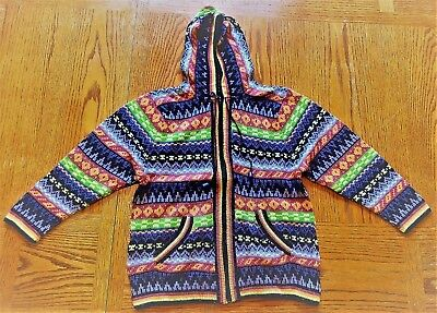 Girl's knitted hooded sweater - size 12  - purple/green - front zipper