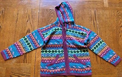 Child's knitted hooded sweater - size 10  - mauve/blue - front zipper