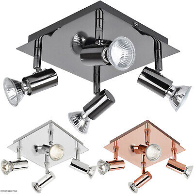 Large Modern Black Chrome 4 Way GU10 Kitchen Ceiling Spot Light Spotlight Lights