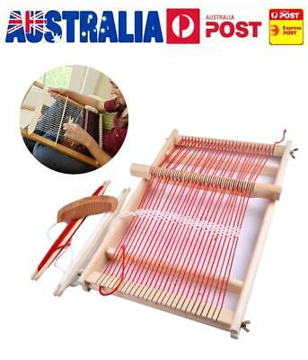 Wooden Weaving Loom Machine Pretend Play Toy Kid Girl DIY Knitting Craft Kit AU
