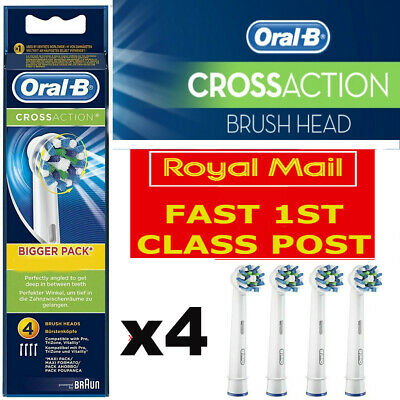Oral B Cross Action - Electric Toothbrush Replacement Heads - 4 Pack - Uk Seller